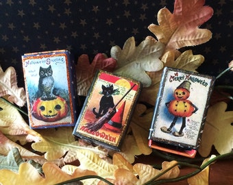 Halloween matchbox candy containers old fashioned trick or treat vintage postcard image retro decoration