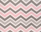 Premier Prints Zoom Zoom Chevron in Bella Pink and Grey by the yard