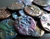 Steampunk polymer clay jewelry components (set of 4)