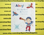 """Plaid Bucilla - 45597 Ships Ahoy Birth Record - counted cross stitch - approx. 9.75"""" x 12.75"""" - 1 kit"""