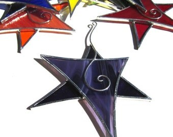 You Pick Any Color - Stained Glass Dancing Star - Hanging Suncatcher Christmas Ornament Home Garden Decor Yard Art (MADE TO ORDER)