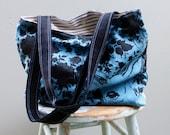 Stag and Doe Bag - Hand Printed Cornflower Blue Linen - 1 large zippered pocket