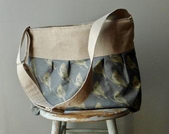 Blue Bird Linen Bag - Adjustable Strap - 7 Pockets - Key Fob