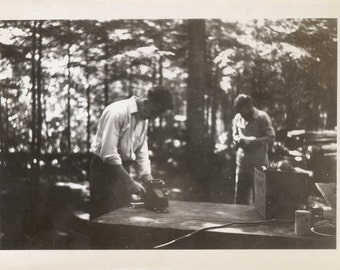 vintage photo 1947 Men at Park w Fold Out Camera on Picnic Table