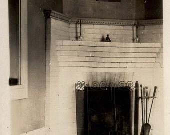 Vintage photo 1920s Fireplace Interior Room