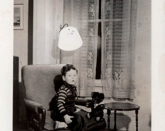 Vintage photo 1940 Little Boy in Chair w Teddy Bear Toy Vintage Snapshot Photo