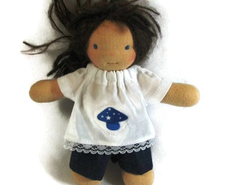 6 inch 7 inch slim Waldorf Doll Clothes, mushroom patch top and denim shorts, doll top and shorts