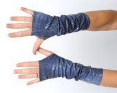 Long shiny blue jersey armwarmers with scale pattern, Shiny blue wrist warmers
