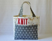 Stand Up Knitting Tote - Pink and Gray Fawn Fabric