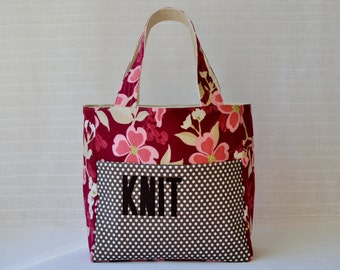 Stand Up Knitting Tote - Dogwood Bloom in Berry