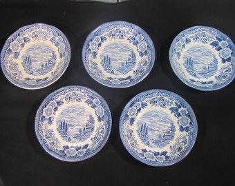 Lochs of Scotland Blue Delft Bowls Hand Engraving set of 5 and bonus Saucer