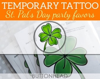 St. Saint Patrick's Day Shamrock Four Leaf Clover Temporary Tattoos - Set of 6