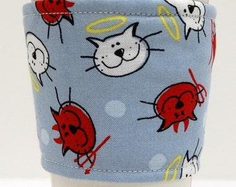 Coffee Cozy, Cup Sleeve, Eco Friendly, Slip-on, Teacher Appreciation, Co-Worker, Bulk Discount:  Good Cat, Bad Cat on Light Blue,