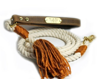 Wedding Rope Leash - Engraved Wedding Leash with Leather handle - Pumpkin Spice