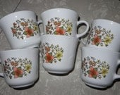 Vintage Corelle Indian Summer coffe tea cups set of 6 1970s Harvest Autumn theme
