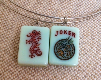 Mint green mahjong tile necklaces / joker / dragon on silver neckwire