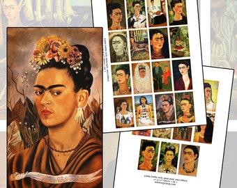 Frida Kahlo Self Portrait paintings matchbox cover digital collage sheet 1.5 x 2.5