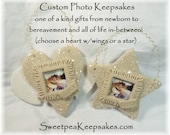 Pet Memorial Heart w/Wings or Star Photo Personalized Keepsake Ornament or Snap-Pea Fits Noosa Ginger Snap Jewelry Beloved Dog Cat MKE WI