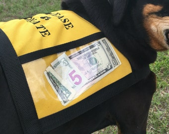 Dog Donation Vest - Fundraising Dog Vest with large clear pockets for donations - Yellow dog vest -  PLEASE DONATE - size Medium -