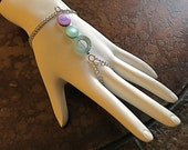 Strobe Lights Silver Tone Mother of Pearl Harem bracelet- RESERVED FOR CHERELLE