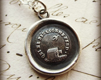He Who Neglects Me Loses Me - Inspirational Necklace - French wax seal charm necklace - birdcage inspirational antique necklace - FR505