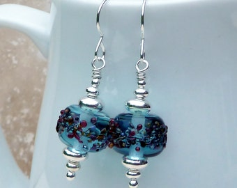 Blue Frit Lampwork Glass and Sterling Silver Earrings - E0070