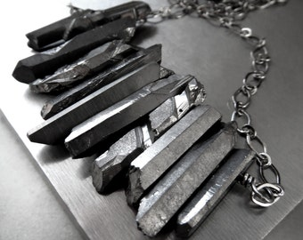 Gunmetal Quartz Spike Necklace, Rough Cut Titanium Quartz Point Necklace, Black Gunmetal Chain, Lava Rock Beads, Modern Goth Gothic