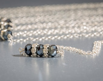 As Seen On Baby Daddy, Navy Blue Necklace, Bar Necklace, Deep Blue Chinese Crystal Necklace
