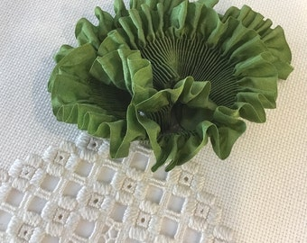 """Pleated Beautiful Leaf Green 100% Silk Ribbon 1-1/4"""" wide 1 Meter long, great for flowers or doll costuming"""