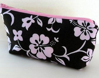 Brown and Pink Hibiscus Zippered Pouch, Tropical Cosmetic Bag,  Brown and Pink Cosmetic Bag, Purse Organizer