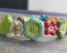 Czech Glass Matte Yellow 18mm Flower Bead Mix: 5 pc Flower Bead Mix