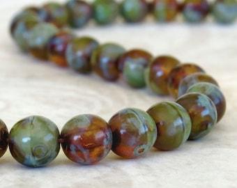 6mm Turquoise Amber Mix Czech Glass Round Druk Bead : 30 pc Strand