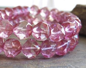 Crystal Bronze Czech Glass Bead 9mm Baroque :  12 pc Crystal Central Cut Czech Beads