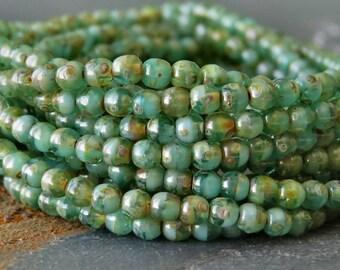 Turquoise Emerald Picasso Czech Glass 3mm Round Druk :  50 pc Strand Green 3mm Druk
