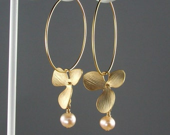 Hoop Earrings Gold Orchids and Peach Pearls
