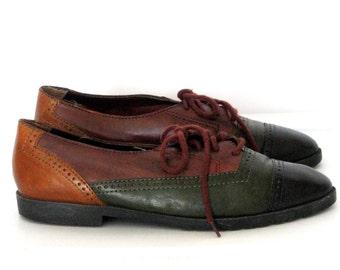 Women's Oxfords Shoes Lace Up Shoes Flat Shoes Sz 7 Leather Shoes Womens Shoes