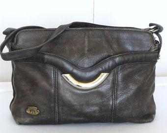 Rare 80s Etienne Aigner Handbag Handcrafted Smoke Gray Leather Crossbody Shoulder Bag