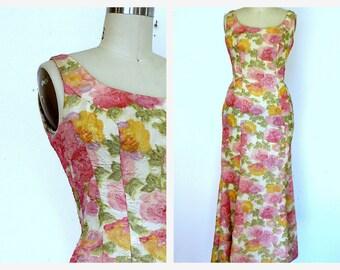 Vintage  50s  Fishtail Maxi Dress Sz S  Pink Floral Print Fishtail Flare Wiggle Dress Sz Small
