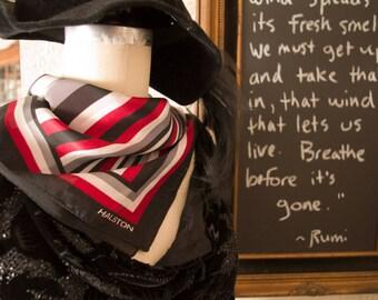 Vintage Halston Designer Scarf, Red Black Grey Stripe Scarf, Satin Stripe Scarf