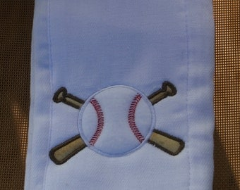 Baseball and Bat Burp Cloth  Can be personalized