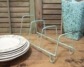 Dish Rack Blue Shabby Display Dry Cottage Primitive Vintage Organize