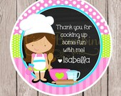 Little Chef Birthday Party Favor Tags or Stickers / Choose Your Hair Color / Cooking Party, Baking Party, Pizza Party / Set of 12