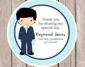 PRINTABLE Boys First Holy Communion Favor Tags in / Print Your Own Personalized Stickers / Choose Hair & Skin Color / You Print - HC19