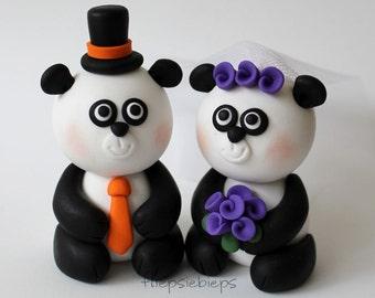 Custom Panda Bear Wedding Cake Topper