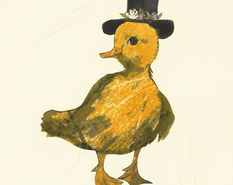Baby Duck With A Tiny Top Hat - FINE ART PRINT