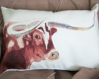 Longhorn Canvas Throw Pillow, Rustic Western Pillow Cover, Longhorn Accent Pillow, Ranch Home Decor, Longhorn Watercolor Accent Pillow
