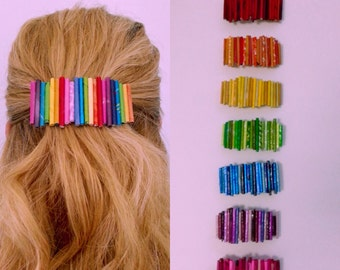 Hair Clip Barrette made of Upcycled Paper from Magazines, Gift Wrap & more! In your choice of colors or color combinations