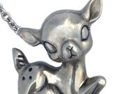 Deer Necklace fawn bambi sitting large