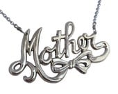 Mother Necklace, mom script silver mother's day gold