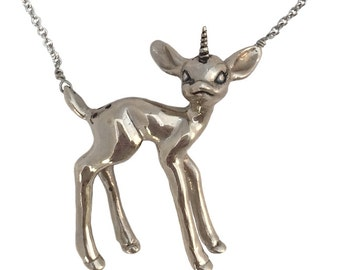 Unicorn Necklace Deer             silver gold pendant charm sterling jewelry